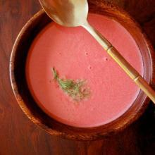 سوپ رازیانه و لبو با کفیر